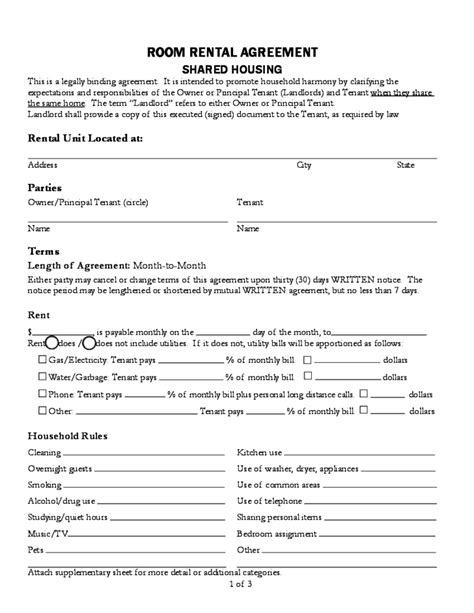 sle room rental agreement free download