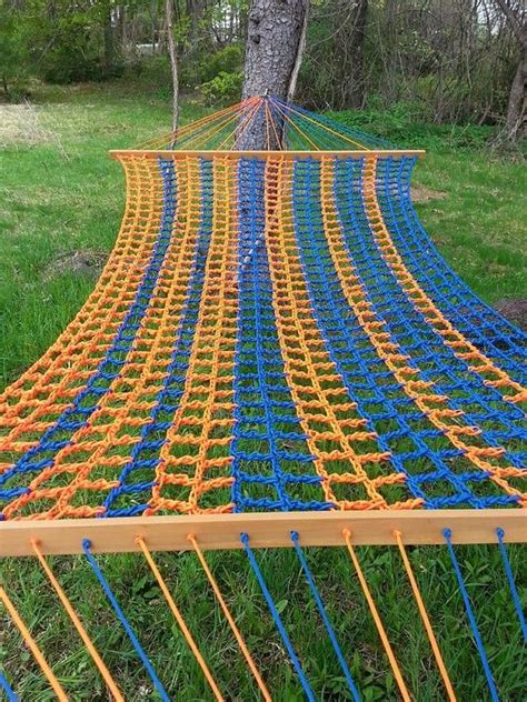 How To Make A Hammock With Paracord blue and orange paracord hammock home outdoor www