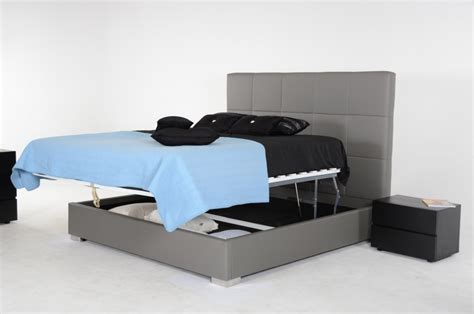 lift storage bed modrest messina modern grey eco leather bed with lift