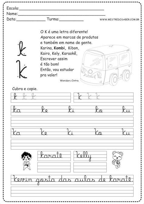11 - Caderno de Caligrafia letra K | Atividades de