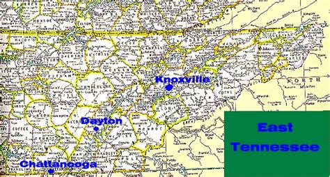 east tennessee map map of east tennessee showing dayton