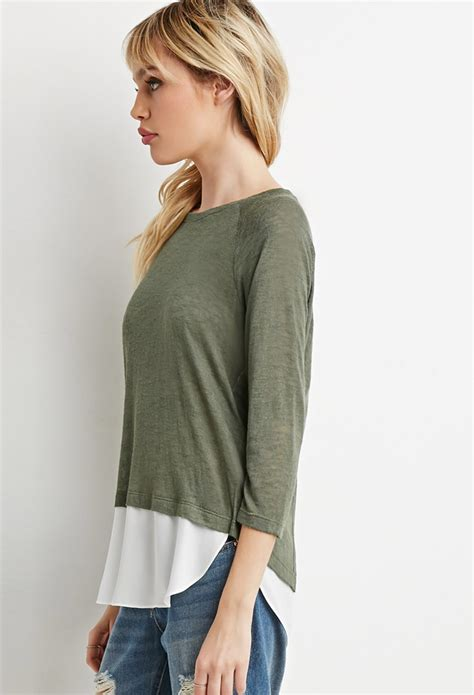 Forever21 Layered Vented Back Dress In Green forever 21 layered split back sweater in green lyst