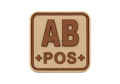 Rubber Pvc Patch Blood Type Ab Pos 1 bloodtype square rubber patch ab pos desert jtg rubber patches patches equipment