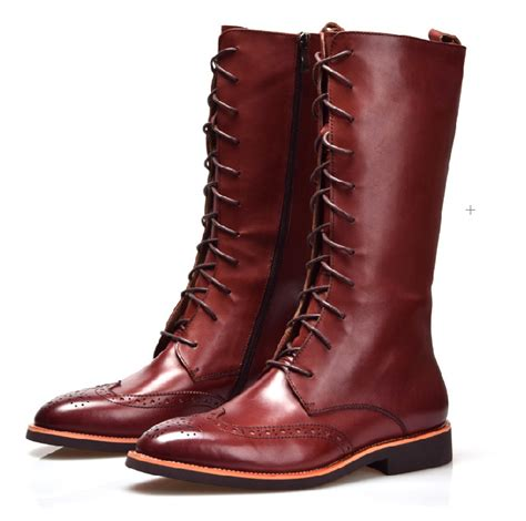 mens high boots leather fashion style brown black knee high mens