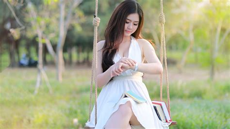 swing asia asian girl sit at swing white dress books wallpaper
