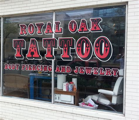 royal oak tattoo royal oak color window lettering in royal oak