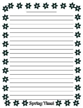 lined paper with plant border spring writing lined paper school and students