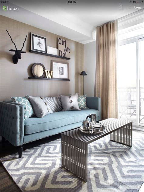 duck egg sofa  soft grey carpet  linen sheers