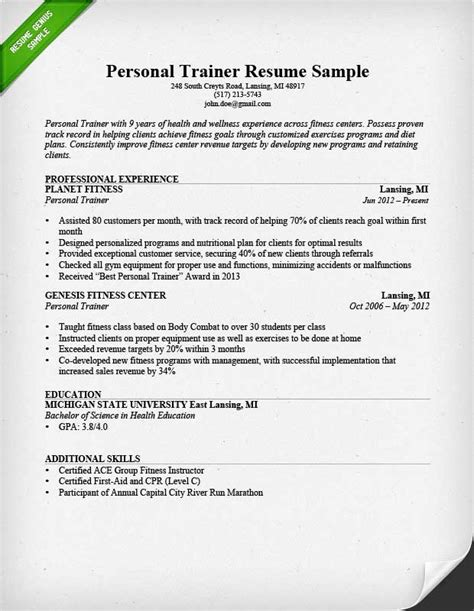 Fitness Center Manager Sle Resume by Fitness And Personal Trainer Resume Exle Recentresumes