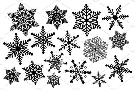 black and white snowflake clipart illustrations