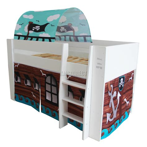 Mid Sleeper Bunk Bed Foxhunter Wooden Mid Sleeper Cabin Bunk Bed Tent Single 3ft White Pirate Ebay