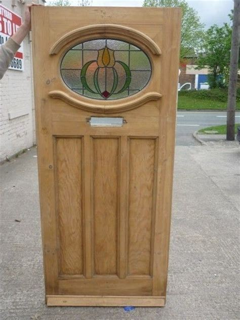 Reclaimed 1930s Front Doors 1930s Original Reclaimed Exterior Pine Front Door With Stained Glass Purple Pink Ebay