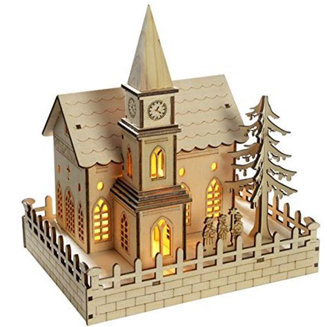 how to make wooden a christmas church werchristmas 22 cm pre lit wooden church decoration with led lights warm white