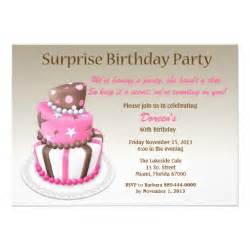 tilted cake surprise birthday invitation zazzle