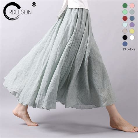 aliexpress buy ordeeson summer 2017 cotton linen elastic waist skirt