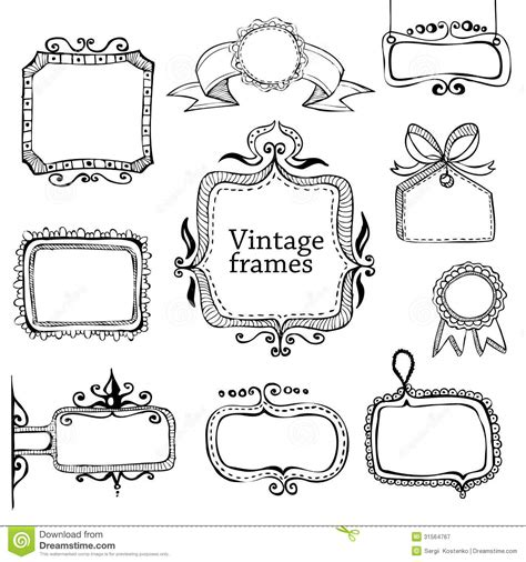 how to draw doodle frames vintage frames collection royalty free stock