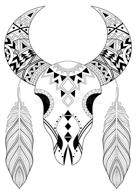 zentangle stylized animal skull with boho feathers hand