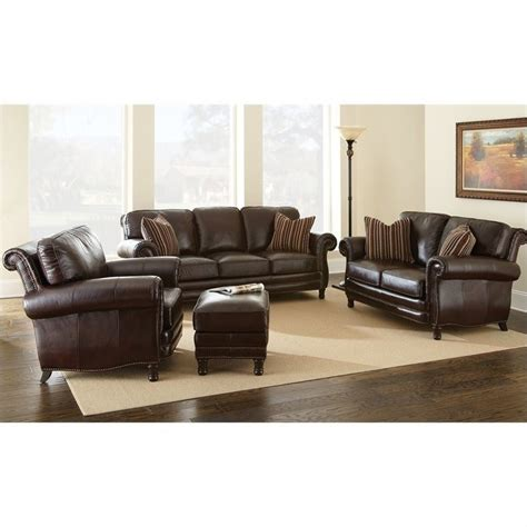 Chateau 4 Piece Leather Sofa Set In Antique Chocolate Chateau Leather Sofa