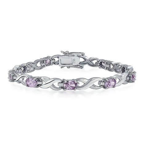 Dolphin Bracelet Purple 925 Sterling Silver Purple amethyst color oval cz infinity tennis bracelet 925 silver 7in