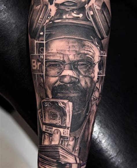 walter white tattoo walter white with money design by miguel bohigues