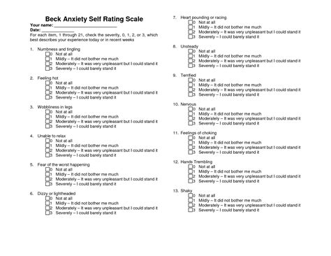 printable anger questionnaire printable beck depression inventory beck anxiety self