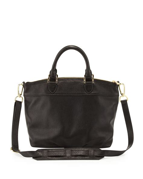 burch leather bag burch small stackedt leather satchel bag black in black lyst