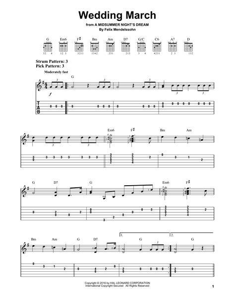 Wedding March by Felix Mendelssohn   Easy Guitar Tab