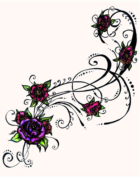 color tattoo design flower tattoos