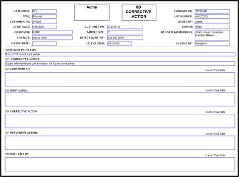 8d corrective action report template