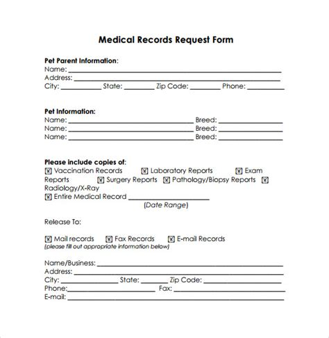 records request form template records release form 10 free sles exles