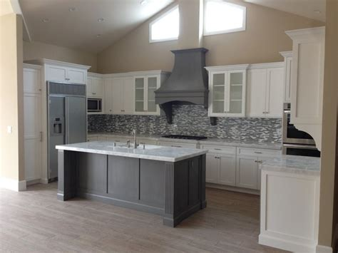 Shaker Style Kitchen Island Shaker White Kitchen Fluted Grey Island Style Kitchen Los Angeles By Woodwork