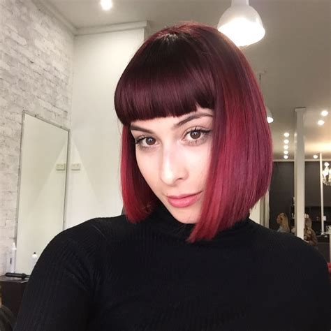 burgundy ombre medium length hair women s blunt collapsed bob with full blunt bangs and