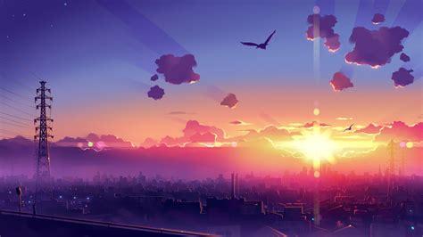wallpaper for desktop scenery anime sunset scenery artwork wallpapers free computer