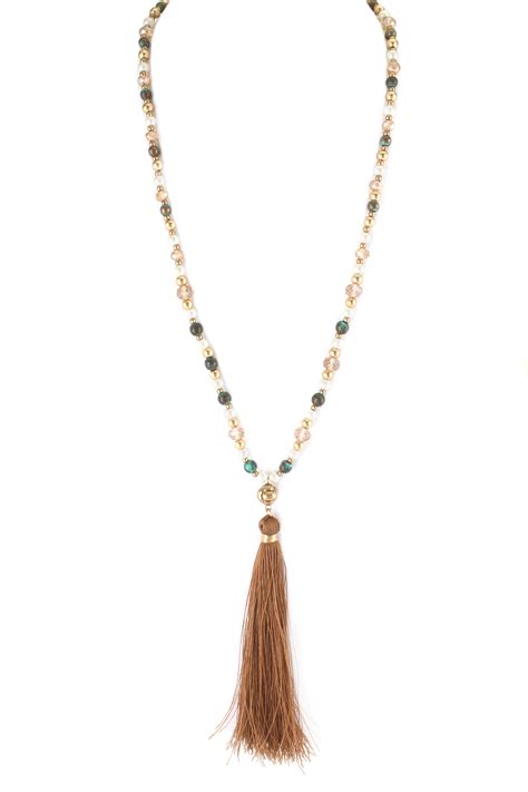 beaded chain necklace multi bead chain tassel necklace necklaces