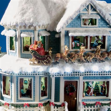 thomas kinkade christmas houses the thomas kinkade night before christmas talking house hammacher schlemmer