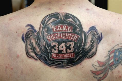 eulogy tattoo f d n y helmet tribute done by ambrose at