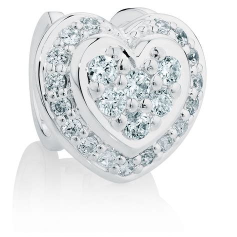 cubic zirconia cubic zirconia sterling silver hearts charm
