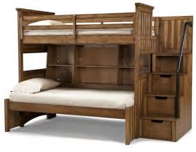 Bunk Bed With Storage Stairs Classic Wooden Unfinished Bunk Beds With Stairs Storage As Well As Open Shelves Built In