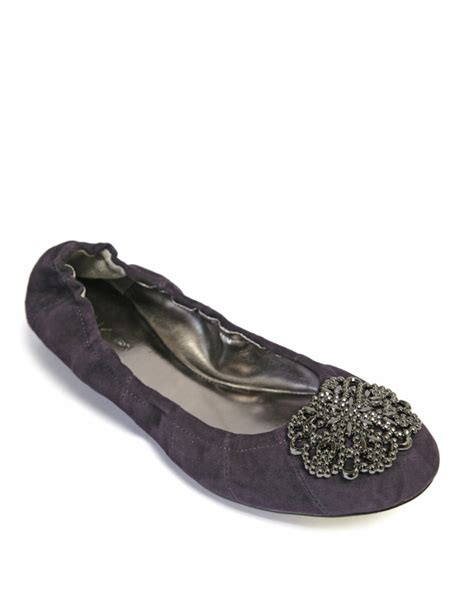 tahari shoes flats tahari valerie metallic leather ballet flats in purple