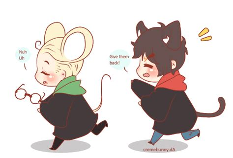 Chasing Hp Character chibi drarry cat and mouse by cremebunny on deviantart
