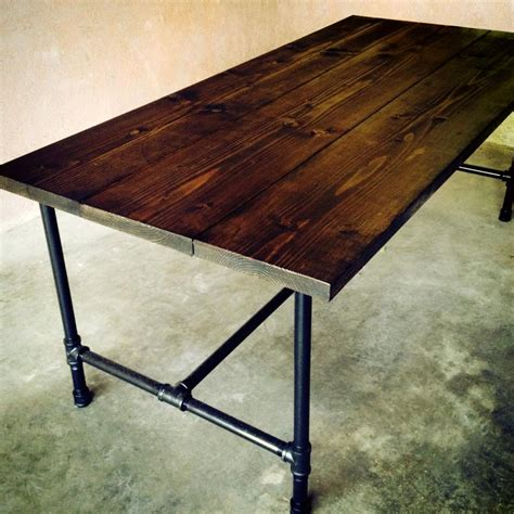 wood and pipe table the jerry kitchen table handmade wood and galvanized