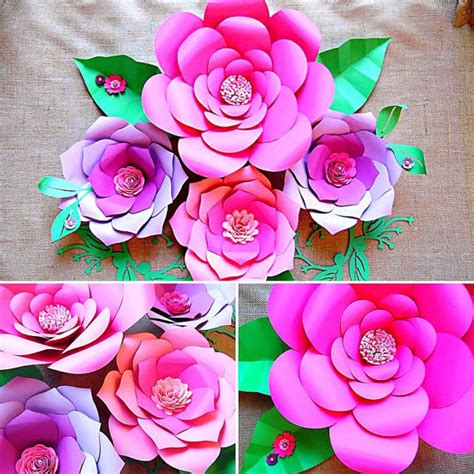 paper flower templates diy paper flower wall paper