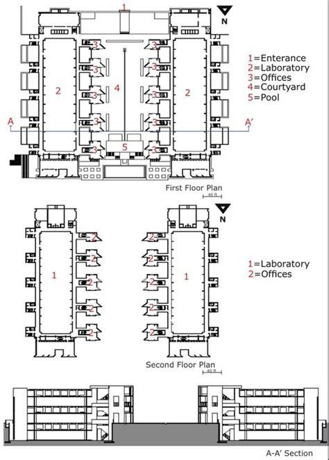 louis kahn floor plans louis kahn salk institute plans section louis kahn