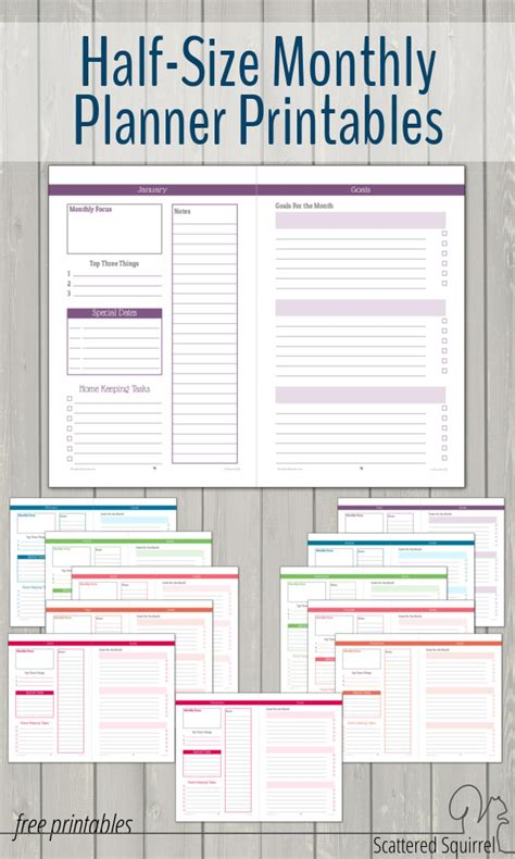 printable calendar half size half size monthly planner printables