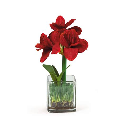 Artificial Flowers Vase by Amaryllis Silk Flower Arrangement W Glass Vase