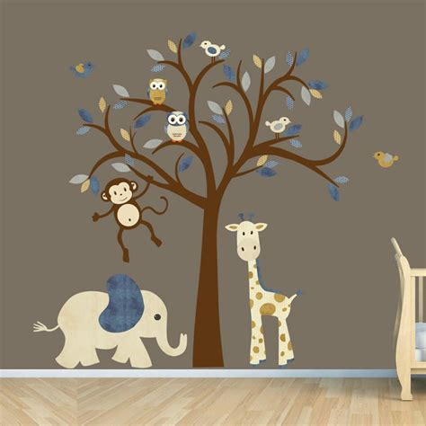 Nursery Wall Decals For Boys Room Wall Decal Jungle Animal Nursery Decor Tree Wall Decal Safari Animal Wall Decal