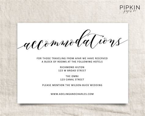 free printable enclosure card templates wedding accommodations template printable accommodations