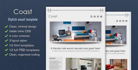 Coast Stylish Email Template Tumblog Style By Cazoobi Themeforest Envato Email Templates