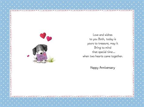 anniversary brother sister  law card cute puppies