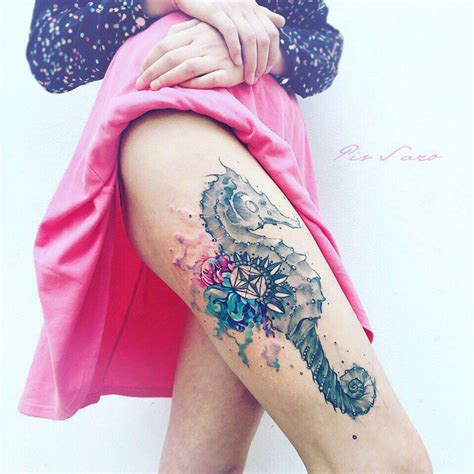 seahorse watercolor on girls thigh best tattoo design ideas